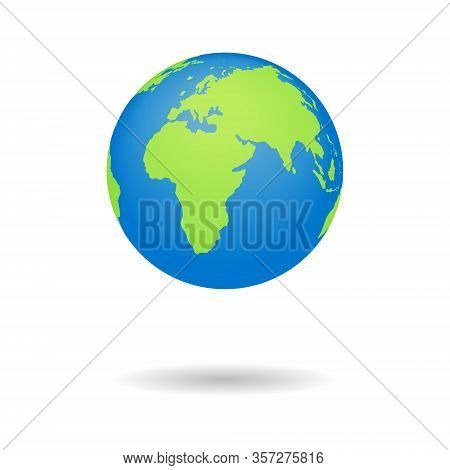 Earth Globus Map. 3d Globe Icon. World Symbol With Blue, Green Color Isolated On White Background. I