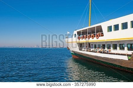 Istanbul, Turkey - September 18th 2019. Tourists Enjoy The Sun On Board A Ferry Between Moda, Kadiko