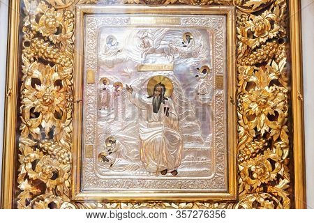 Orthodox Church. Christianity. Festive Interior Decoration With Icon In Traditional Orthodox Church
