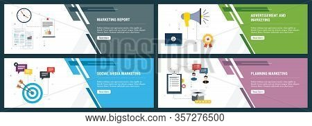 Banner Set With Icons For Internet On Websites Or App Templates With Marketing Report, Advertisement