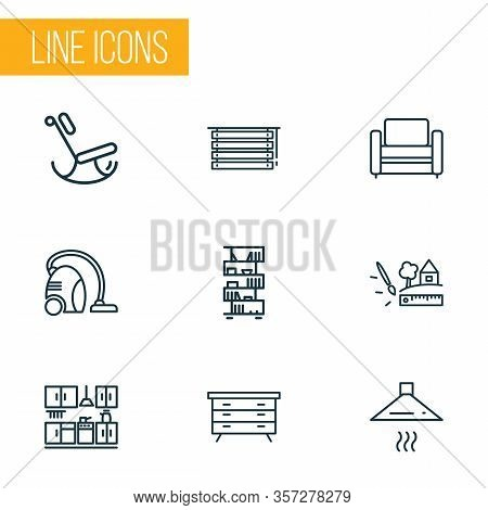 Home Decoration Icons Line Style Set With Louvers, Kitchen Set, Modern Armchair And Other Jalousie E