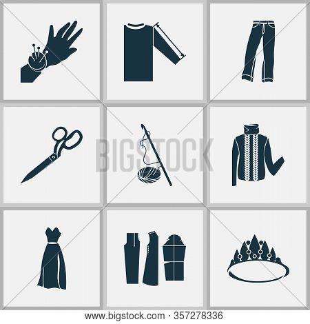Style Icons Set With Tailor Shears, Sleeve Length, Sewing Pattern And Other Pants Elements. Isolated