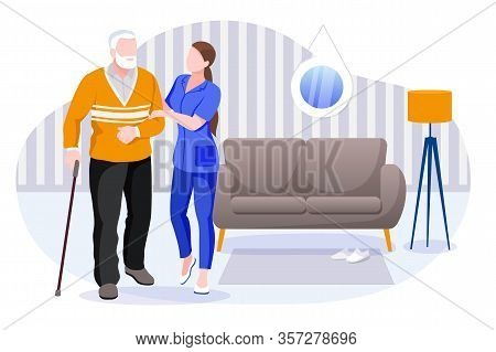 Home Care Services For Seniors. Nurse Or Volunteer Worker Taking Care Of Elderly Disabled Man. Vecto