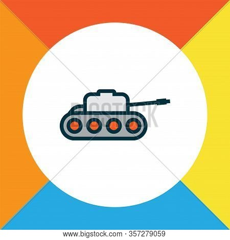 Tank Icon Colored Line Symbol. Premium Quality Isolated Panzer Element In Trendy Style.