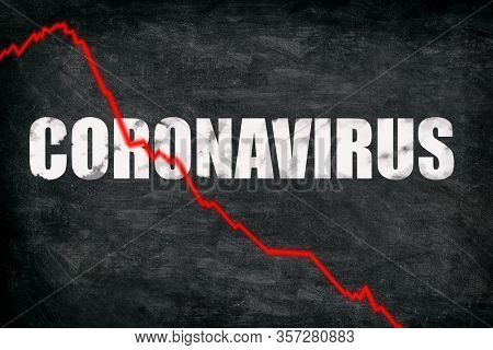 Coronavirus stock market crashing. Corona virus crash causing new financial crisis and bear market recession and economic downturn. Negative graph of stocks on black blackboard billboard.