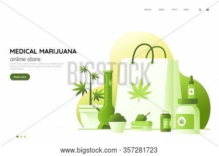 Medicinal Cannabis Preparations Vector Illustration. Medical Marijuana Online Store Web Page Concept