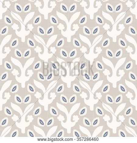 French Blu Shabby Chic Damask Vector Texture Background. Antique White Old Ecru Blue Seamless Patter