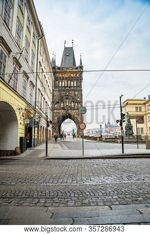 Prague, Czech Republic - March 19, 2020. Square Krizovnicke Namesti In Front Of Entrance To Charles