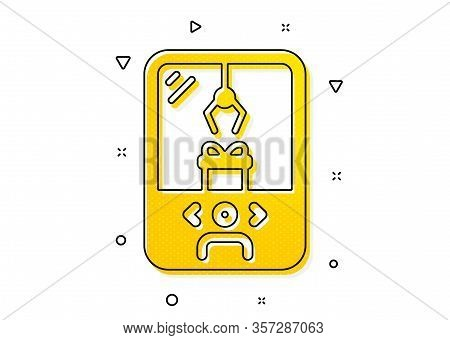 Amusement Park Sign. Crane Claw Machine Icon. Carousels Symbol. Yellow Circles Pattern. Classic Cran