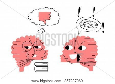 Vector Flat Abstract Illustration Of Metaphor With Smart Brain That Communicates With Other Talking