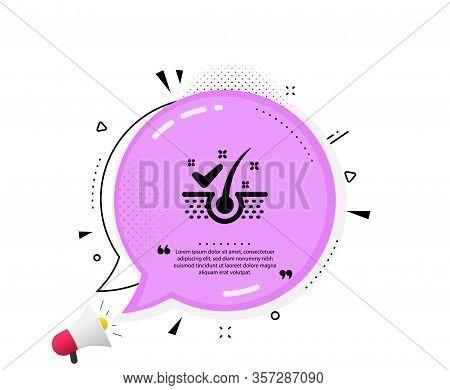 Anti-dandruff Flakes Icon. Quote Speech Bubble. Dandruff Shampoo Sign. Clean Hair Symbol. Quotation