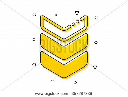 Army Reward Sign. Shoulder Strap Icon. Best Rank Symbol. Yellow Circles Pattern. Classic Shoulder St