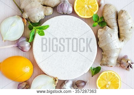 Healthy Products For Immunity Boosting Top View. Vegetables, Fruits, Spices To Boost Immune System O