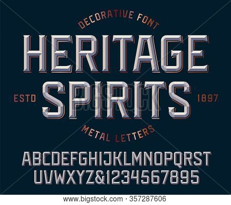 Classic Victorian Font, Metallic Beveled Alphabet And Numbers. Upper Case Letters. Vector Illustrati