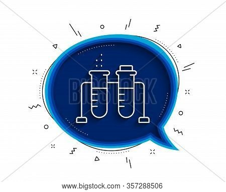 Chemistry Beaker Line Icon. Chat Bubble With Shadow. Laboratory Flask Sign. Analysis Lab Symbol. Thi