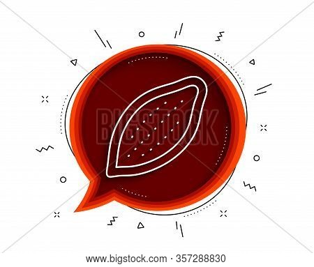 Cocoa Nut Line Icon. Chat Bubble With Shadow. Tasty Nuts Sign. Vegan Food Symbol. Thin Line Cocoa Nu