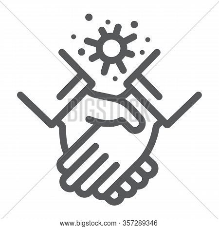 Contagion Handshake Line Icon, Virus And Protection, Covid 19 Sign, Vector Graphics, A Linear Patter
