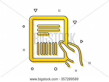 Delivery Document Sign. Parcel Invoice Icon. Package Shipping Symbol. Yellow Circles Pattern. Classi
