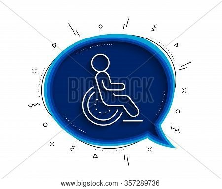 Disability Line Icon. Chat Bubble With Shadow. Disabled Person Sign. Hotel Service Symbol. Thin Line