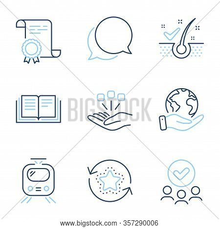 Education, Consolidation And Train Line Icons Set. Diploma Certificate, Save Planet, Group Of People