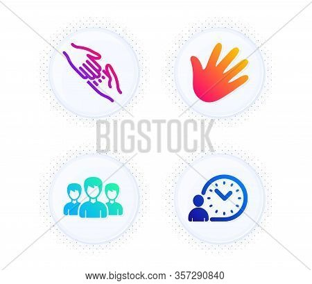 Group, Helping Hand And Hand Icons Simple Set. Button With Halftone Dots. Time Management Sign. Grou