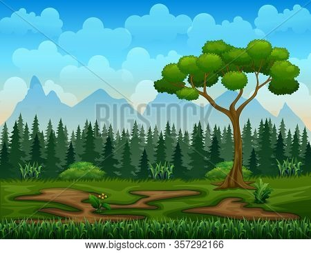 Cartoon Illustration Of Nature Scene With Tree Landscape