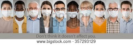 ?oronavirus. A set of portraits of people of different nationalities and ages in medical masks with the slogan