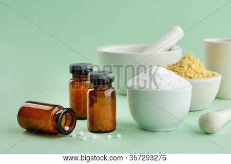 Bottles Of Homeopathic Drugs, Mineral Ingredients And Substances For Preparation Of Homeopathic Reme
