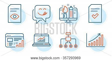 Restructuring, View Document And Checked File Signs. Online Statistics, Web Report And Creative Desi