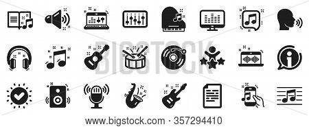 Set Of Acoustic Guitar, Musical Note And Vinyl Record. Music Icons. Jazz Saxophone, Drums With Drums
