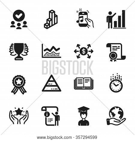 Set Of Education Icons, Such As Pyramid Chart, Trade Infochart. Certificate, Approved Group, Save Pl
