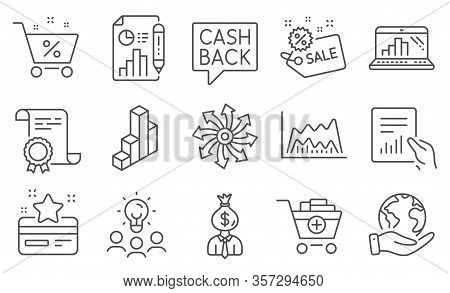 Set Of Finance Icons, Such As Versatile, Report Document. Diploma, Ideas, Save Planet. Add Products,