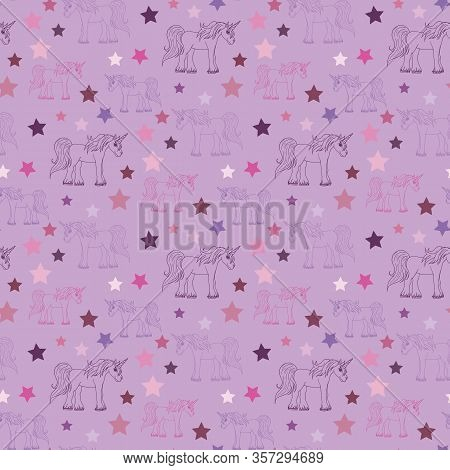 Seamless Pattern With Violet And Pink Unicorns And Stars On Light Violet Background For Fabric, Text