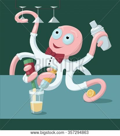 Skillful Multitasking Multi-armed The Best Professional Octopus Bartender Making Alcohol Cocktails F