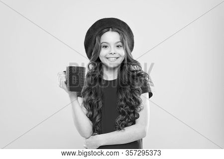 What Is Your Favorite Juice. Drink Enough Water. Girl Kid Hold Mug Yellow Background. Child Hold Mug