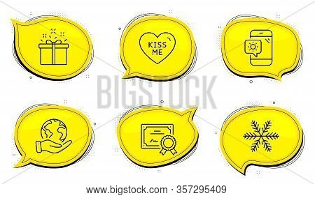 Special Offer Sign. Diploma Certificate, Save Planet Chat Bubbles. Kiss Me, Weather Phone And Snowfl