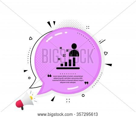Stats Icon. Quote Speech Bubble. Business Management Sign. Best Employee Symbol. Quotation Marks. Cl