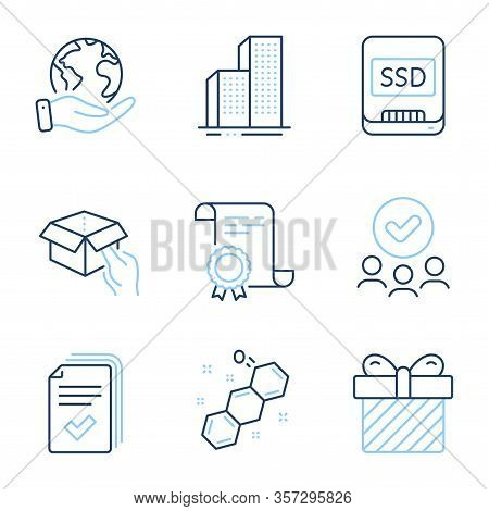 Surprise, Hold Box And Ssd Line Icons Set. Diploma Certificate, Save Planet, Group Of People. Handou