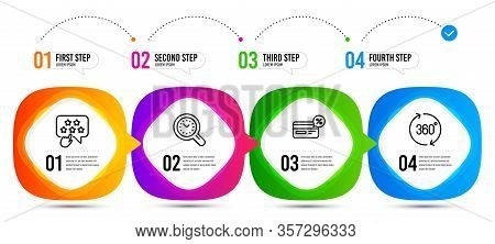 Time Management, Ranking Star And Cashback Line Icons Set. Timeline Steps. 360 Degrees Sign. Time An