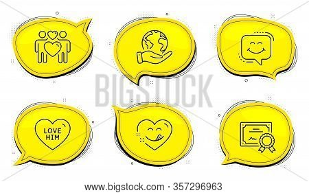 Yummy Smile Sign. Diploma Certificate, Save Planet Chat Bubbles. Love Him, Love Couple And Smile Cha