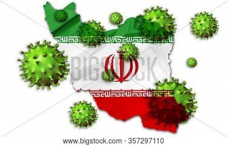 Covid-19 Outbreak Coronavirus, 2019-ncov, Virus-cell Above Iranian Flag Map. Covid 19-ncp Virus: Con