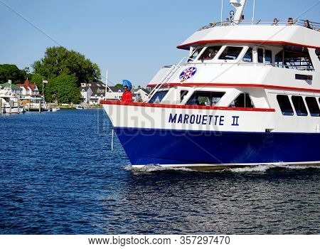 Mackinac Island, Michigan / United States - June 11, 2018: The Marquette Ii, Of The Star Line Ferry,