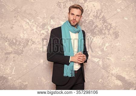 Styling Busy Days With Elegant Scarf. Businessman Wear Long Blue Scarf. Handsome Man In Formalwear W