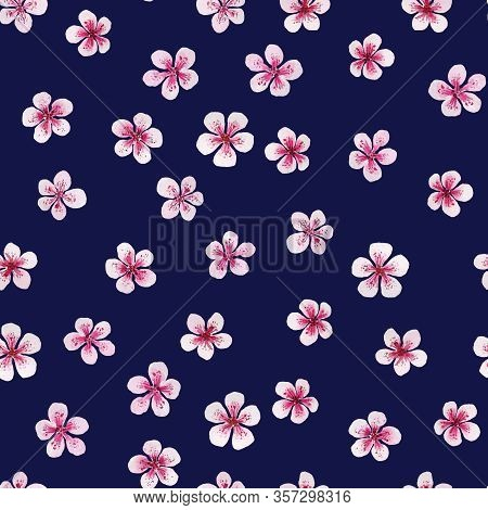 Pink Florets Pattern On Dark Blue. Watercolor Seamless. Ideal For Packaging Products, Scrapbooking,
