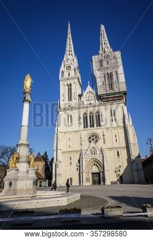 Zagreb, Croatia - March 22, 2020 : Capital Of Croatia, Zagreb Has Been Hit By The Magnitude Of The E