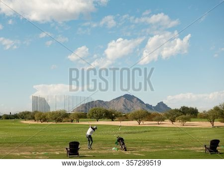 Scottsdale,Az/USA 11.6.19  Talking Stick Golf Course, designed by legendary course architects Ben Crenshaw and Bill Coore, with two distinctive championship golf courses view of Camelback Mountain.