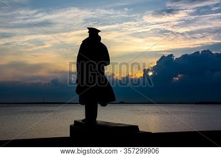 July 2, 2011, Arkhangelsk, Russia: Sculpture Of The Captain Looking At The Ocean.