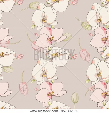 White Flower Foliage Vector Seamless Pattern. Intricate Blossom Texture. Lily Repeat Tile. Pink Orch