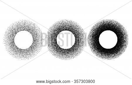 Grunge Spray Stencil Round Frames. Gradient Ink Splatter Dots Template. Circle Graffiti Black Halfto