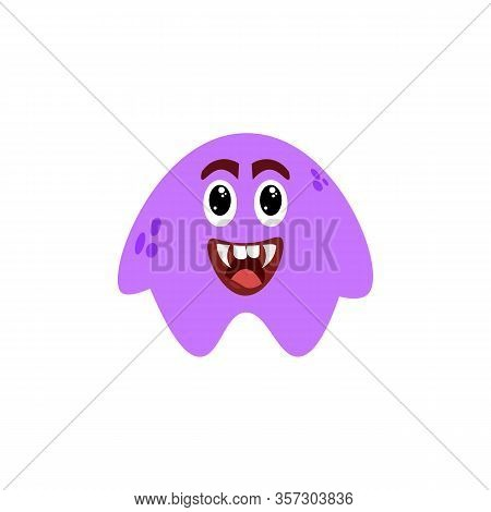 Cartoon Flat Happy Monsters Violet Icon. Colorful Kids Toy Cute Monster. Vector Illustration